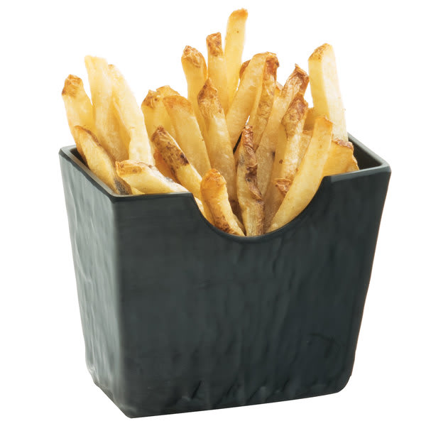 "Cal-Mil 3441-65M Rectangular French Fry Holder - 4.5""L x 2.5""W x 3.75""H, Melamine, Black Faux Slate"