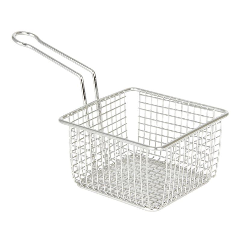 "Cal-Mil 3442-5 5"" Square Serving Basket w/ Handle, Chrome"