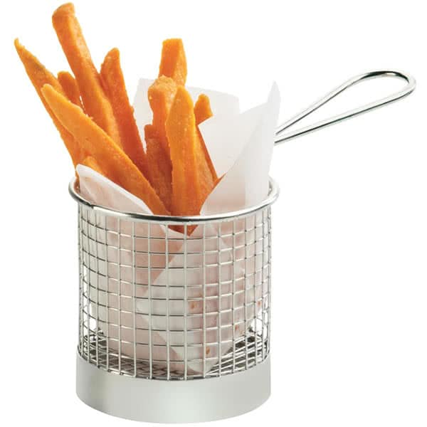 """Cal-Mil 3443 3.5"""" Round Serving Basket w/ Handle, Chrome"""