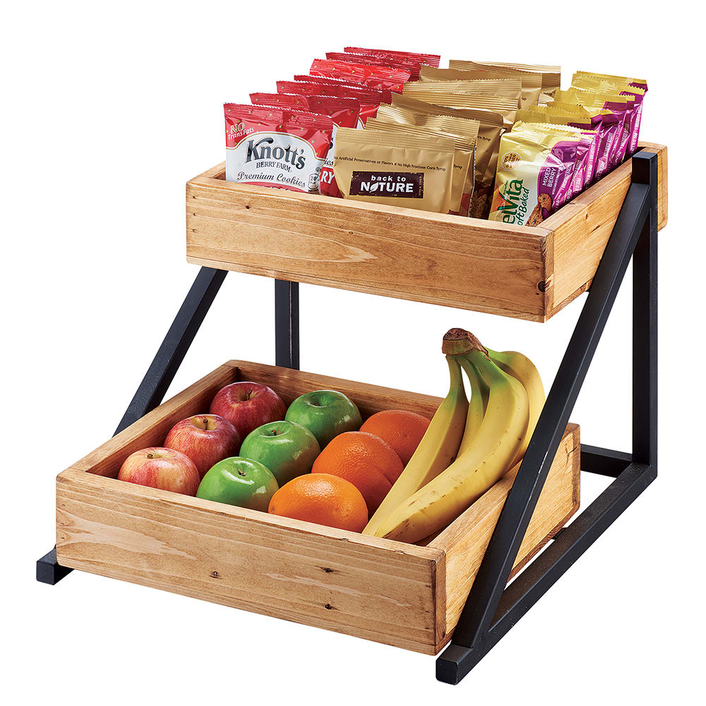 Cal Mil 3448 99 2 Tier Display Stand W Wood Trays 165w X 155d X 12h Metal Black