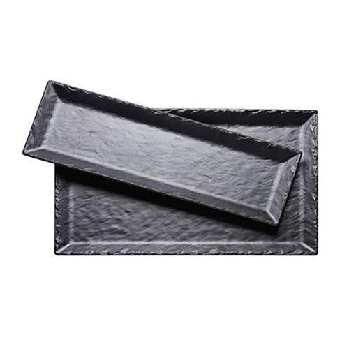"""Cal-Mil 3459-137-65M Rectangular Platter - 13"""" x 7"""", Melamine, Black Faux Slate"""