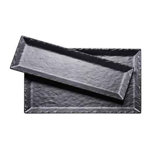 """Cal-Mil 3459-217-65M Rectangular Platter - 21"""" x 7"""", Melamine, Black Faux Slate"""