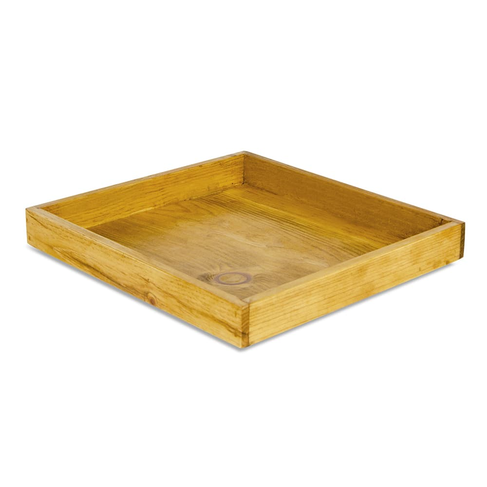 "Cal-Mil 3474-99 Rectangular Coffee Display Tray - 13"" x 12"", Reclaimed Wood"