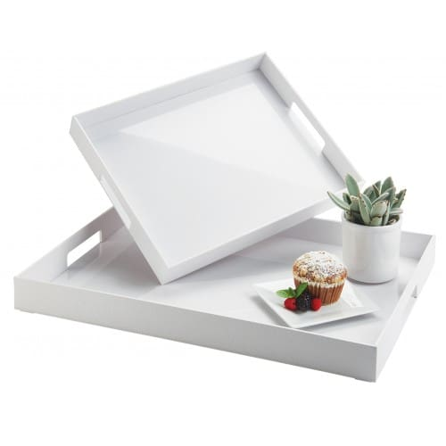 "Cal-Mil 1/15/3475 Rectangular Room Service Tray - 15"" x 12"", Plastic, White"