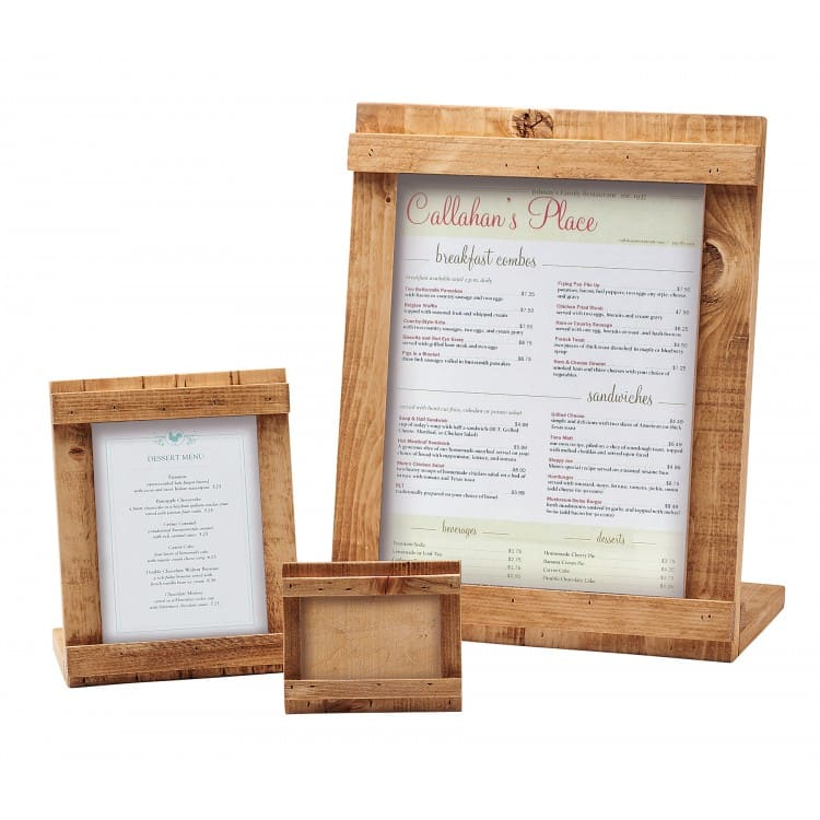 "Cal-Mil 3483-46-99 Tabletop Menu Card Holder - 4"" x 6"", Reclaimed Wood"
