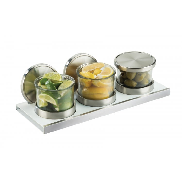 "Cal-Mil 3492-4-15NL Condiment Display w/ (3) 16 oz Glass Jars - 13.5""W x 5""D, Stainless Steel/White"