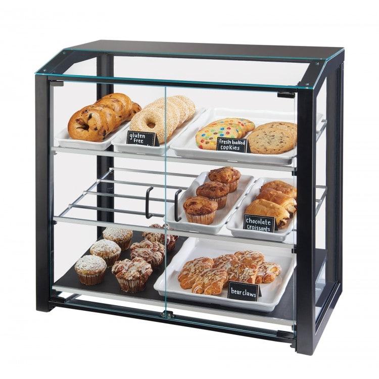Cal-Mil 3493-13L 3 Tier Pastry Display Case w/ Hinged Doors - Black Metal Frame, Acrylic