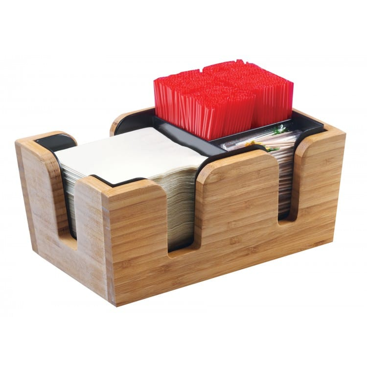 """Cal-Mil 3499-60 3 Section Bar Caddy - 10.75""""W x 7""""D x 4.75""""H, Bamboo"""