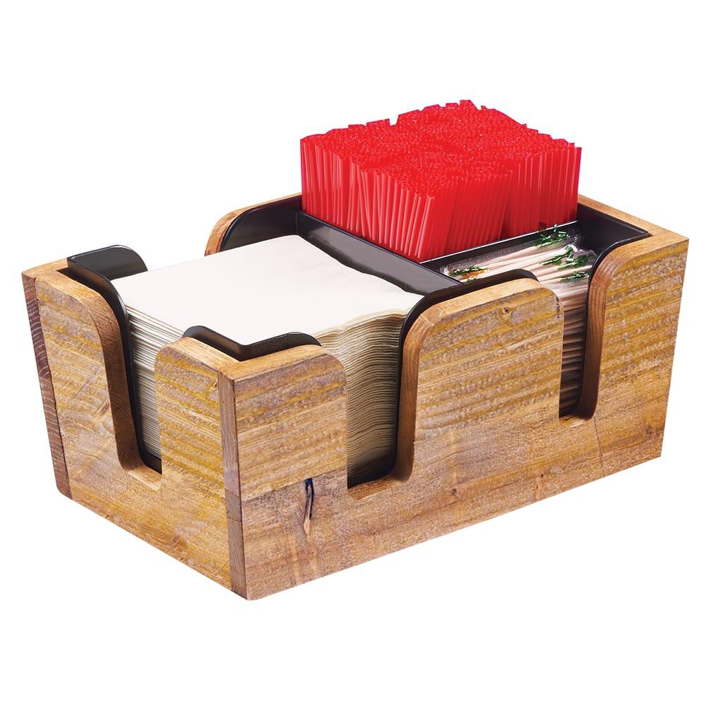 "Cal-Mil 3499-99 3 Section Bar Caddy - 10.75""W x 7""D x 4.75""H, Reclaimed Wood"