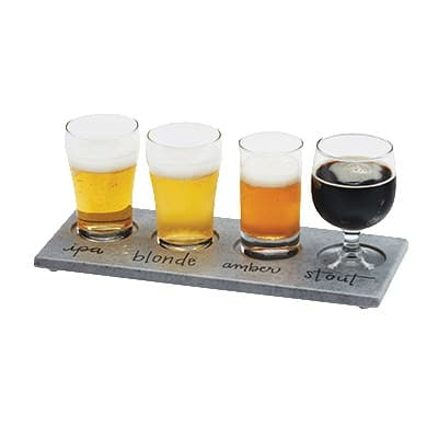 "Cal-Mil 3500-77 Write-On Taster Tray w/ (4) Cut-Outs - 11.75"" x 5"", Melamine, Faux Cement"