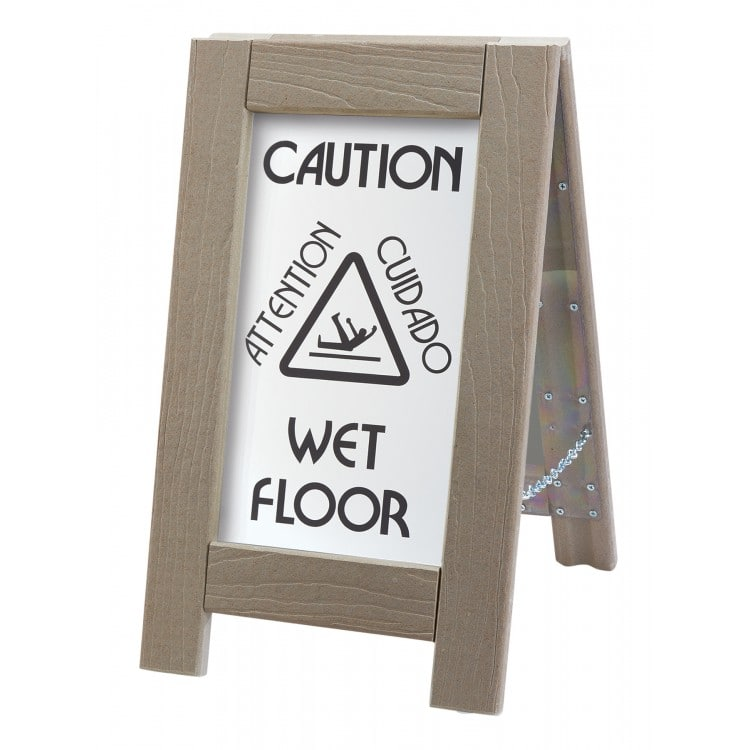 """Cal-Mil 3504 Double-Sided Outdoor Wet Floor Sign - 12""""W x 22""""H, Composite"""