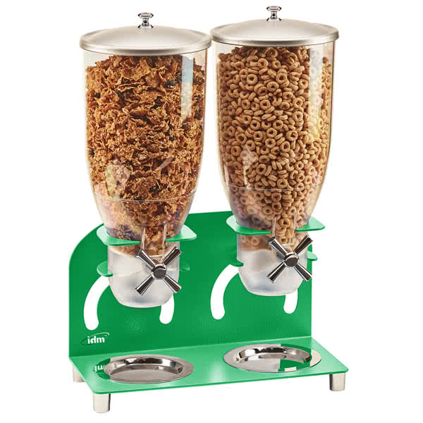 Cal-Mil 2/18/3510 Countertop Cereal Dispenser w/ (2) 3.5 liter Containers - Metal Stand, Green