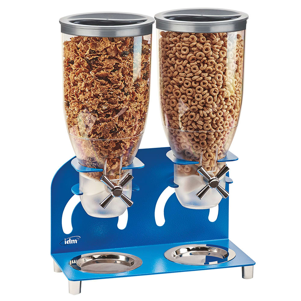 Cal-Mil 3510-2-41 Countertop Cereal Dispenser w/ (2) 3.5 liter Containers - Metal Stand, Blue