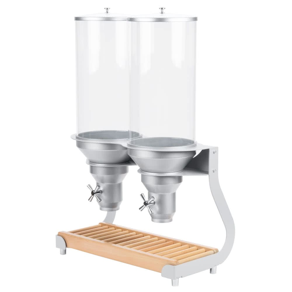 Cal-Mil 3513-2-98 Countertop Cereal Dispenser w/ (2) 13.5 liter Containers - Metal/Wood Stand