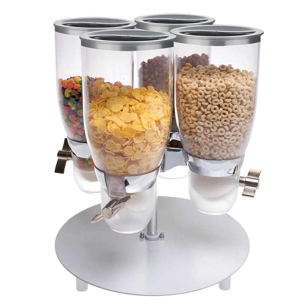 Cal-Mil 3514-4-39 Countertop Cereal Dispenser w/ (4) 3.5 liter Containers - Metal Stand, Platinum
