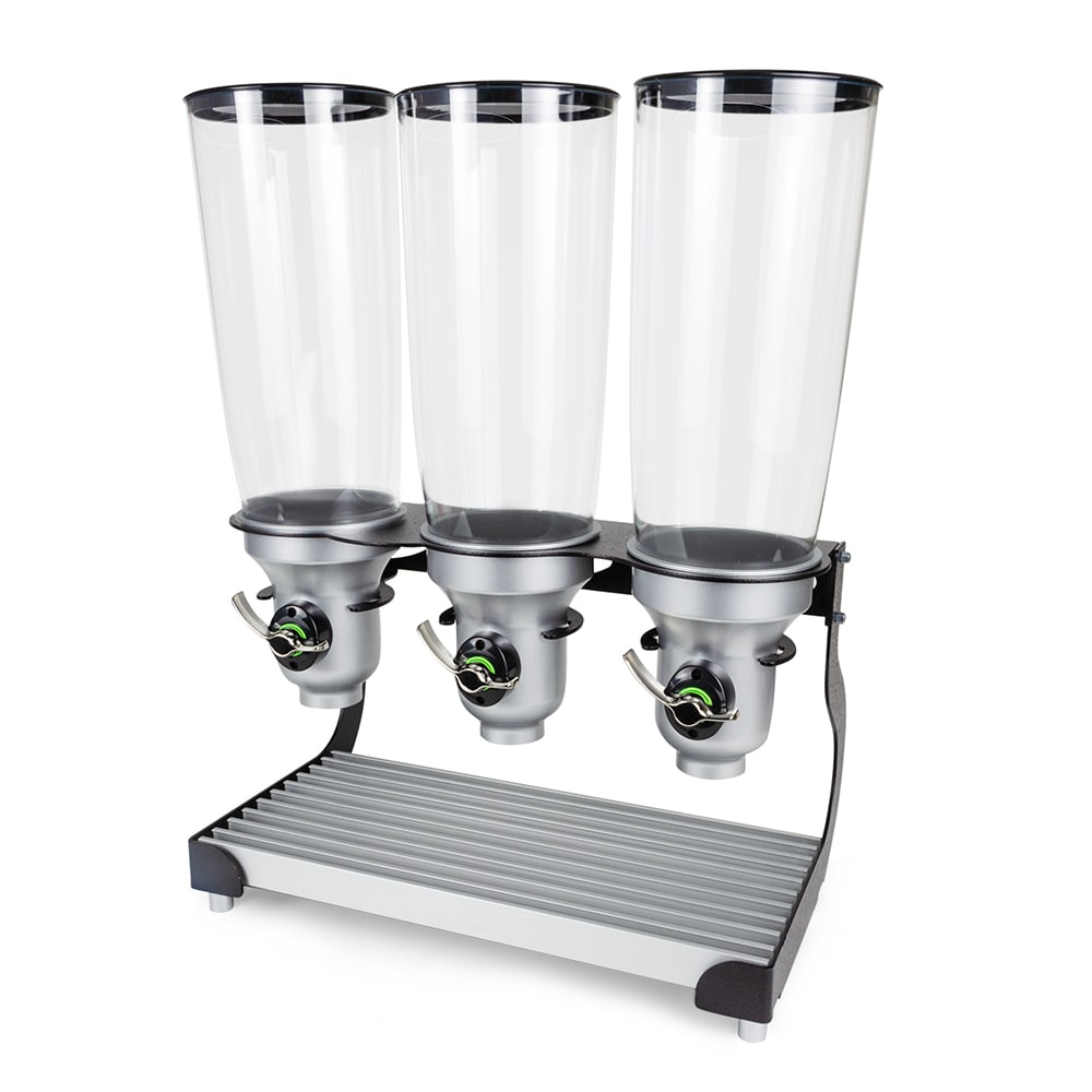 Cal-Mil 3516-3-13FF Countertop Cereal Dispenser w/ (3) 5 liter Containers - Metal Stand, Black/Silver
