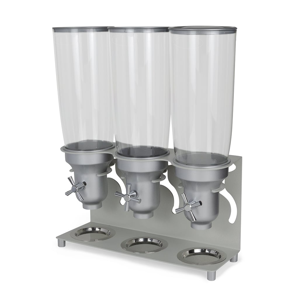 Cal-Mil 3517-3-39 Countertop Cereal Dispenser w/ (3) 5 liter Containers - Metal Stand, Platinum