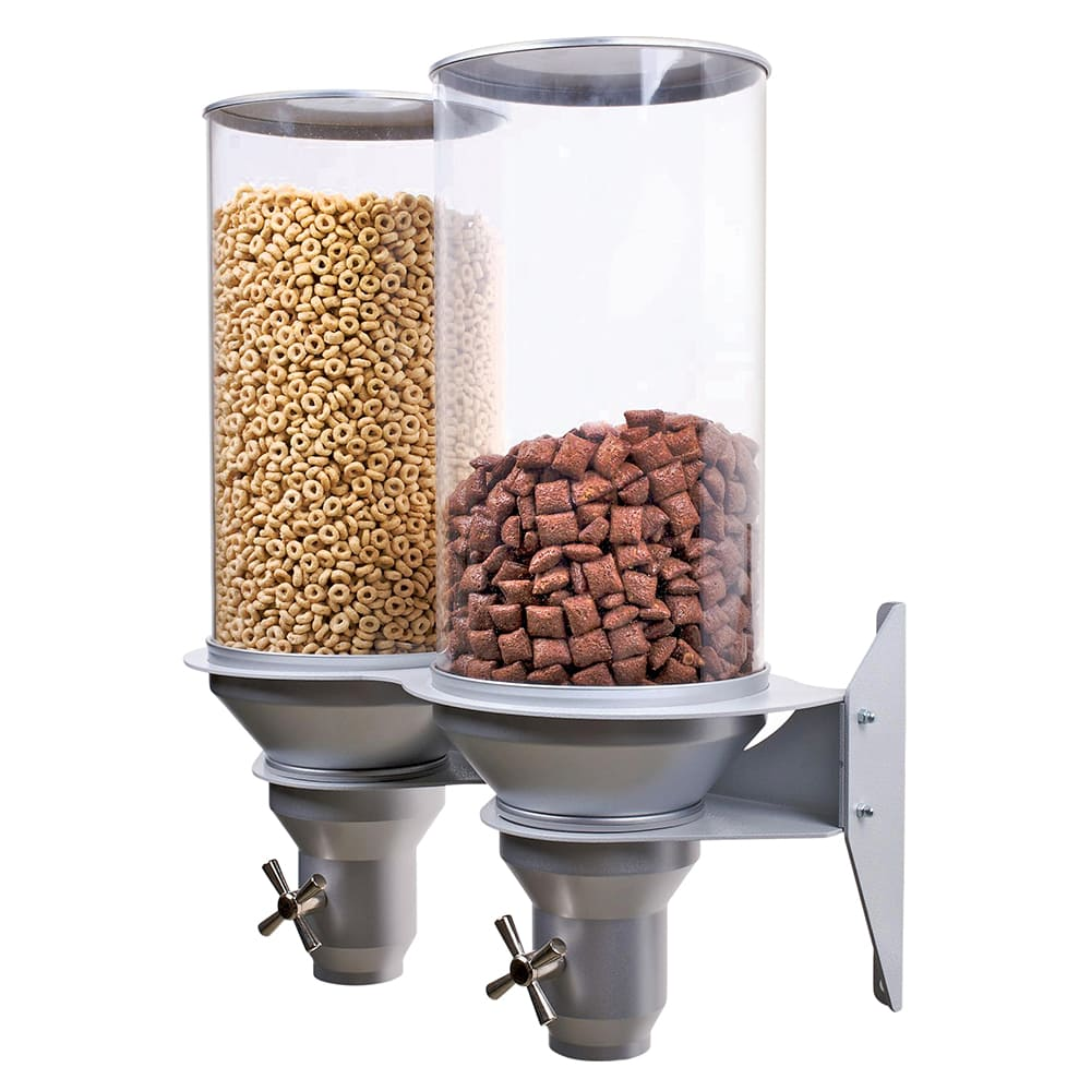 Cal-Mil 3519-2-39 Wall-Mount Cereal Dispenser w/ (2) 13.5 liter Containers, Platinum