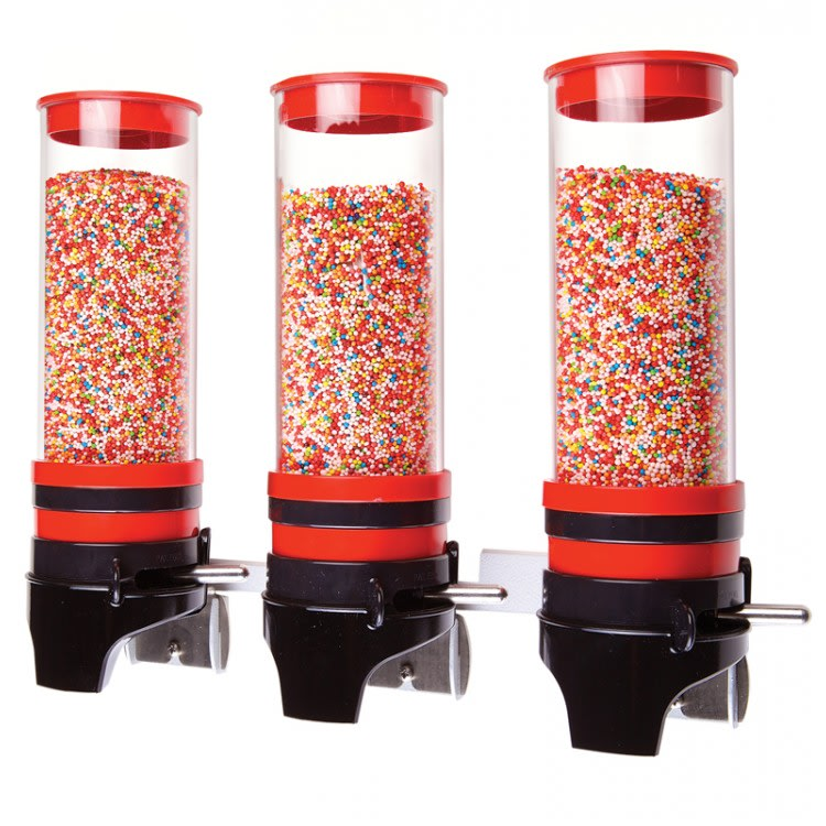 Cal-Mil 3/14/3525 Wall-Mount Topping Dispenser w/ (3) 1 liter Containers - Plastic, Red