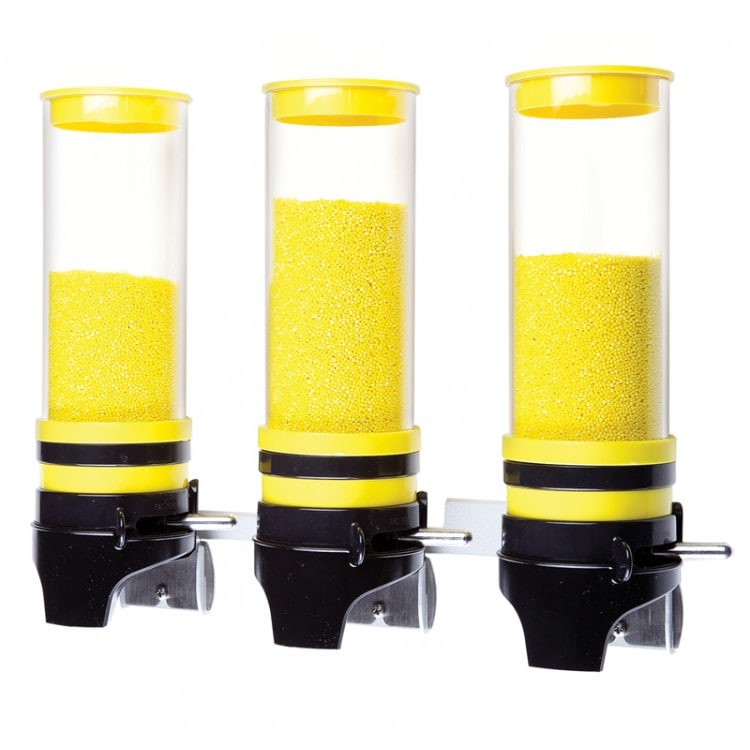 Cal-Mil 3525-3-42 Wall-Mount Topping Dispenser w/ (3) 1 liter Containers - Plastic, Yellow