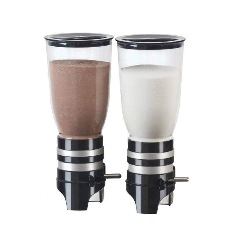 Cal-Mil 2/13/3526 Wall-Mount Sugar & Creamer Dispenser w/ (2) 1 Liter Containers - Plastic, Black