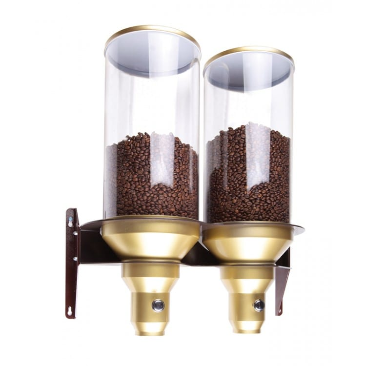 Cal-Mil 2/11/3529 Wall-Mount Coffee Bean Dispenser w/ (2) 13.5 liter Containers - Plastic, Gold