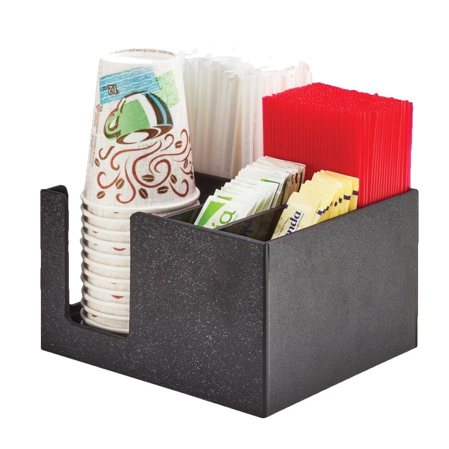"Cal-Mil 3566-13 5-Compartment Condiment Organizer - 8.5"" x 7.25"" x 5"", Plastic, Black"