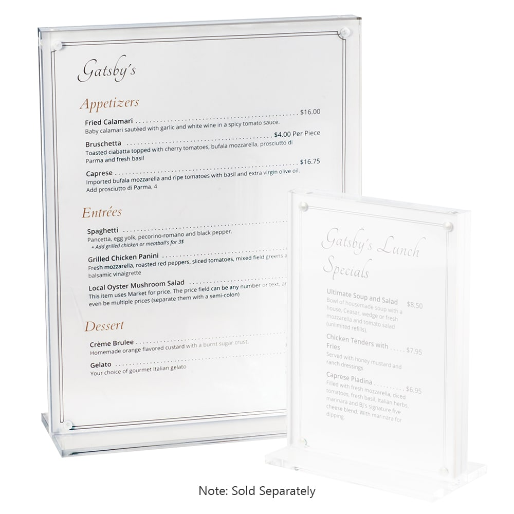 "Cal-Mil 3567-811 Tabletop Menu Card Holder - 8.5"" x 11"", Plastic, Clear"