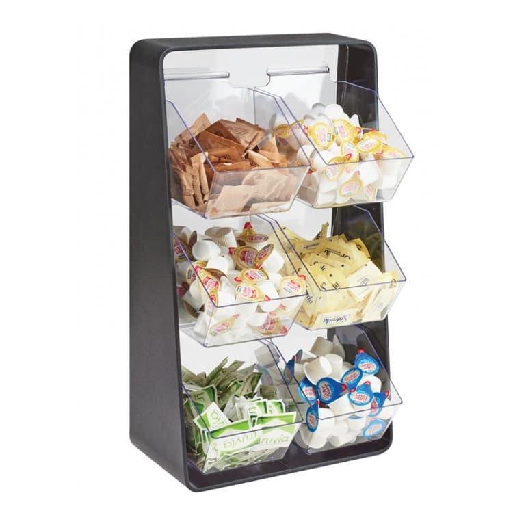 "Cal-Mil 3569-6-13 6-Compartment Condiment Organizer - 13.25"" x 7"" x 23.25"", Plastic, Black"
