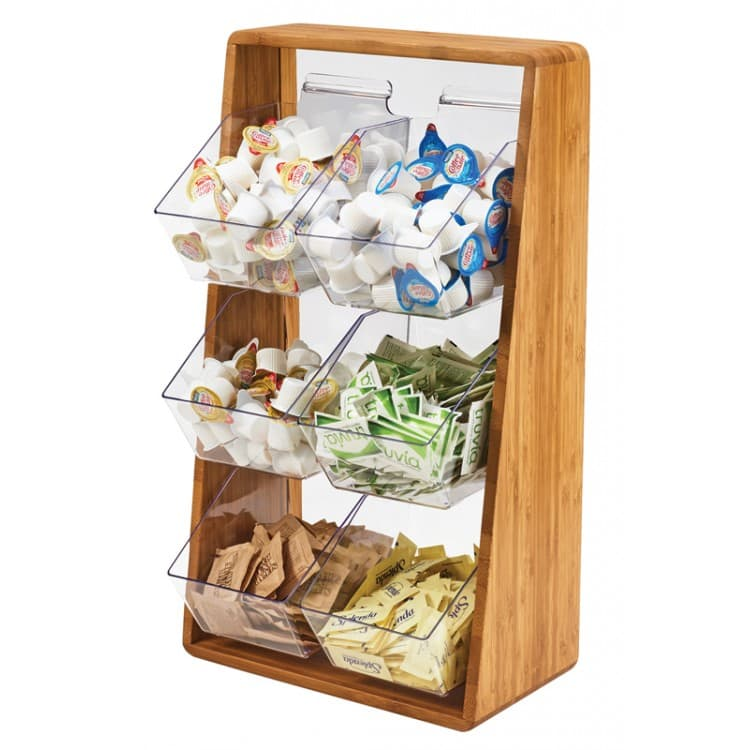 "Cal-Mil 3569-6-60 6 Compartment Condiment Organizer - 13.25"" x 7"" x 23.25"", Bamboo"