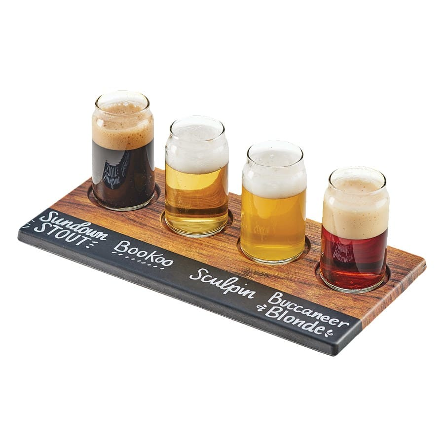 "Cal-Mil 3570-47M Write-On Beer Flight Board w/ (4) Cut-Outs - 11.8"" x 4.8"", Melamine, Hickory"