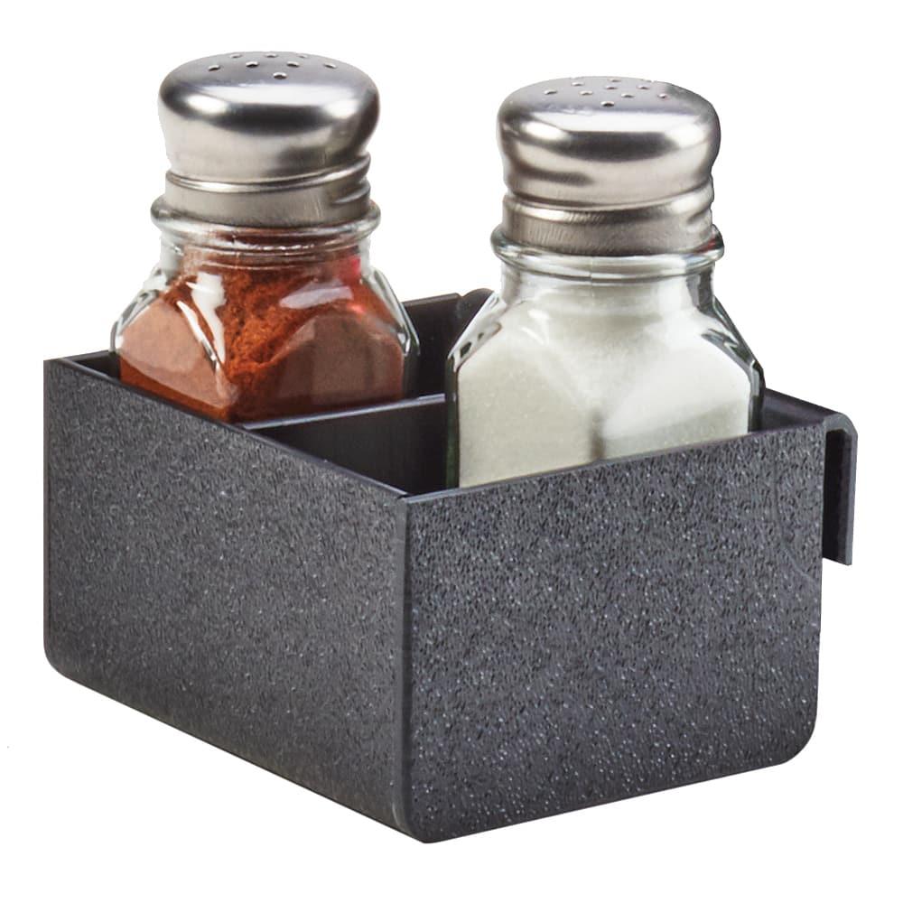 "Cal-Mil 3574-13 2 Compartment Shaker Holder - 3.3"" x 3.5"", Plastic, Black"