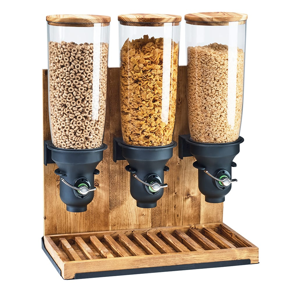 Cal-Mil 3576-3-99FF Countertop Cereal Dispenser w/ (3) 5 liter Containers - Wood Stand