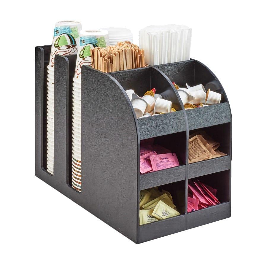 "Cal-Mil 3577 12 Compartment Condiment Organizer - 9.25"" x 16.25"" x 13"", Plastic, Black"