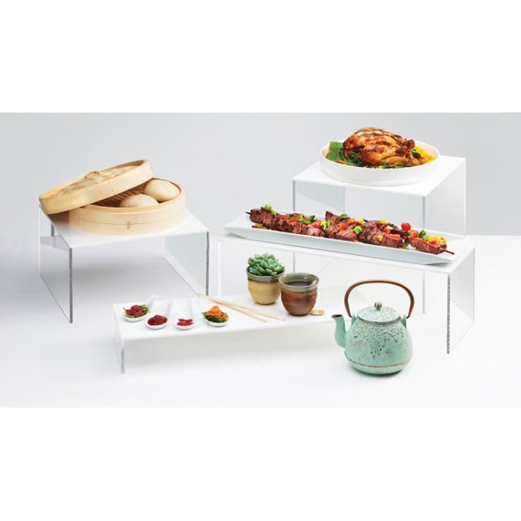 "Cal-Mil 7/15/3587 12"" Square Buffet Riser - 7""H, Acrylic, Clear & White"