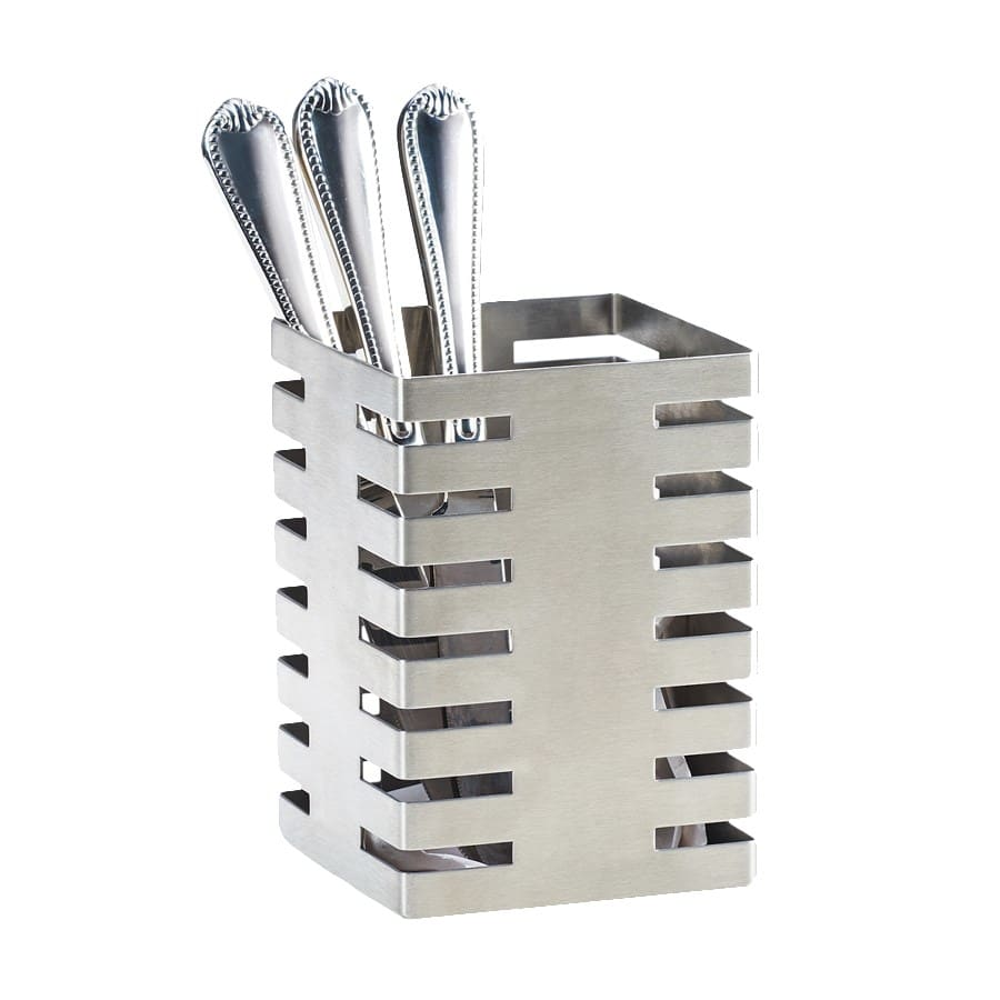 "Cal-Mil 3590-4-55 4.5"" Square Flatware Display Organizer, Stainless Steel"