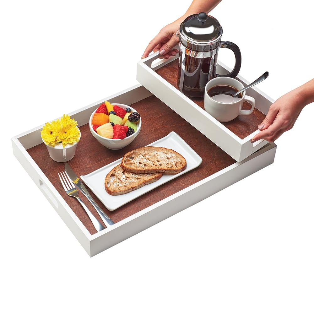 "Cal-Mil 3592-15 Rectangular Room Service Tray - 21.5"" x 15"", Wood, White"