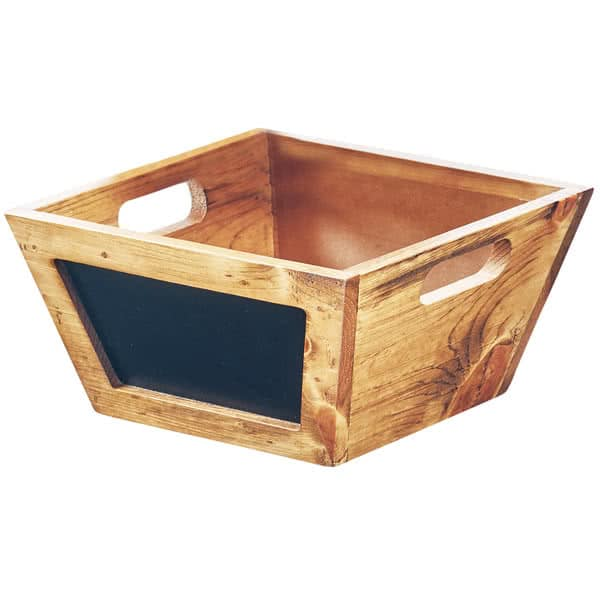 "Cal-Mil 3593-10-99 10"" Square Bowl w/ Chalkboard Sign, Wood"