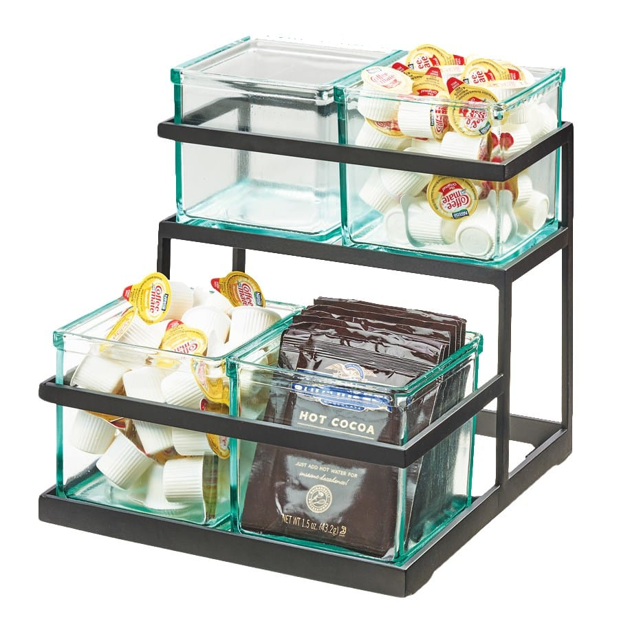 "Cal-Mil 3604-13 2-Tier Condiment Jar Riser Set w/ (4) 5"" x 5"" Jars - Metal, Black"
