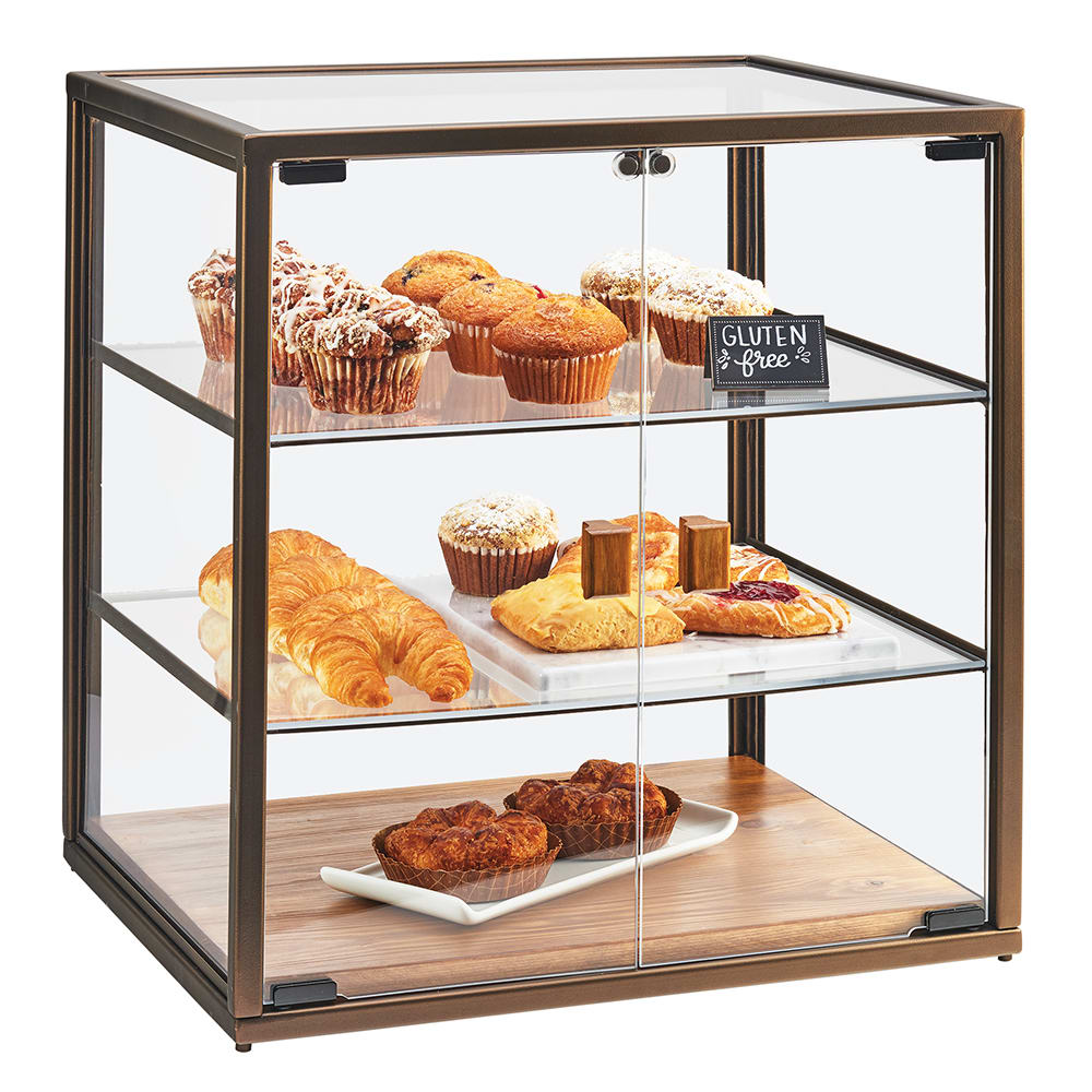 Cal Mil 3610 3 Tier Pastry Display Case W Hinged Doors Antique Metal Frame Acrylic