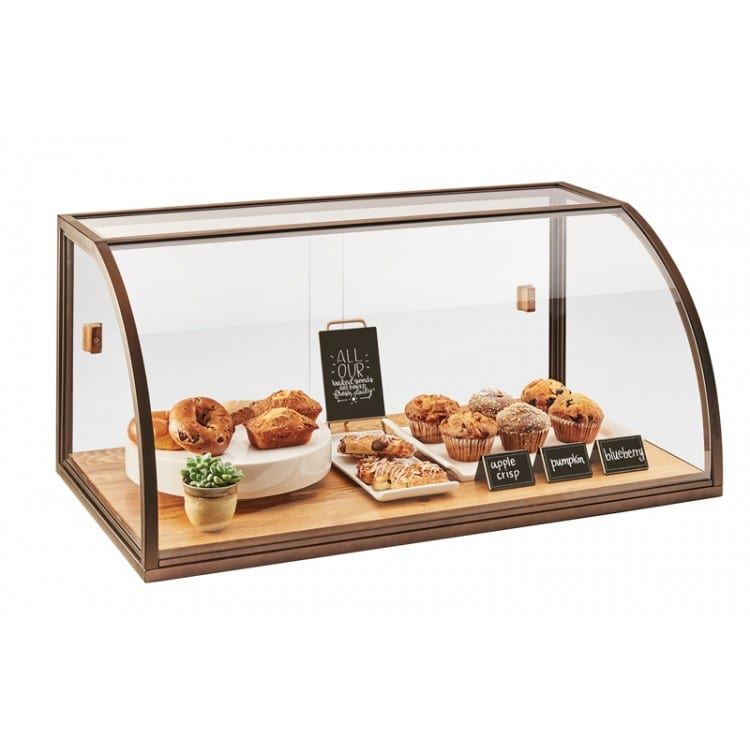 Cal-Mil 3611-S 3 Tier Pastry Display Case w/ Sliding Doors - Antique Metal Frame, Acrylic