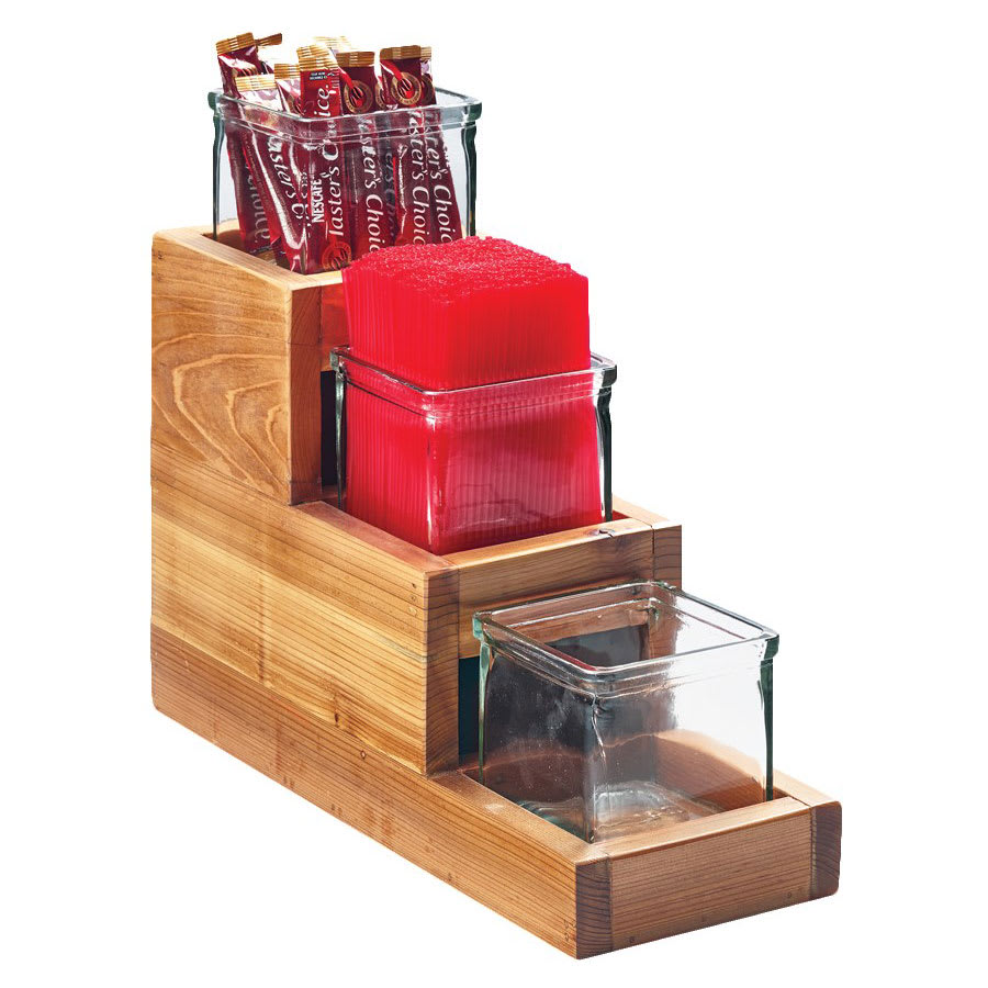 "Cal-Mil 3612-4-99 3 Tier Condiment Jar Riser Set w/ (3) 4"" x 4"" Jars, Reclaimed Wood"