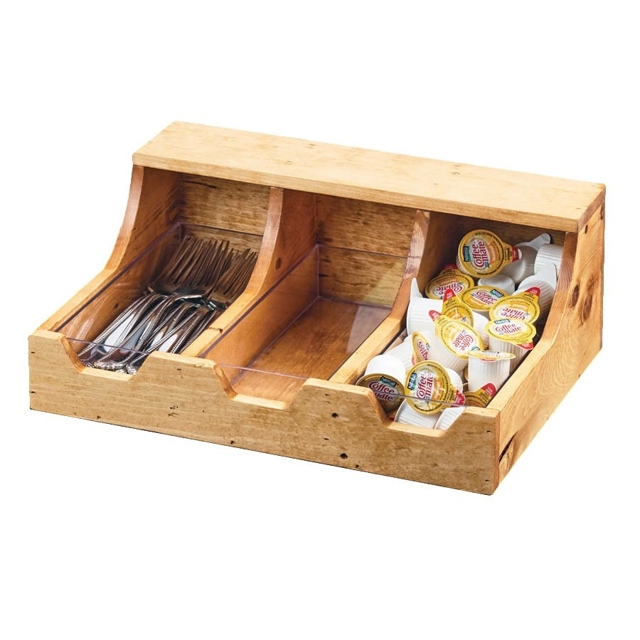 "Cal-Mil 3613-3-99 3-Compartment Condiment Organizer - 13.75"" x 10"" x 5.25"", Wood"