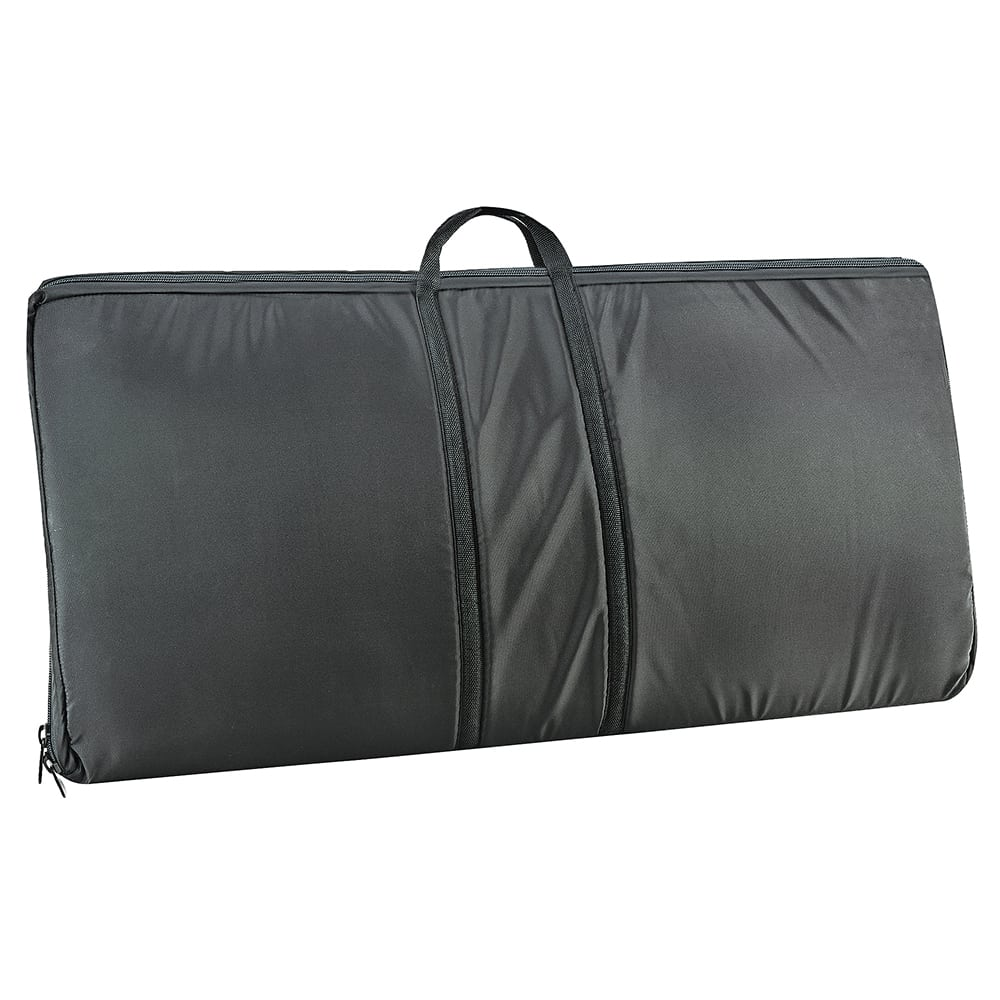 "Cal-Mil 3615-3 Padded Sneezeguard Carrier - 38.5""W x 19.5""D x 3.5""H, Black Canvas"