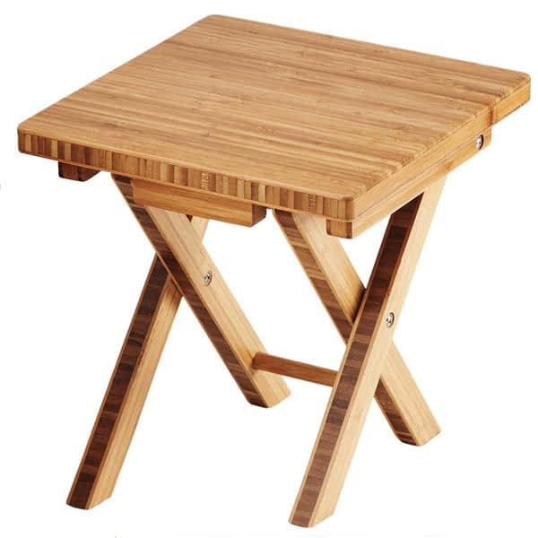 "Cal-Mil 3620-11-60 10"" Square Folding Buffet Riser - 10.75""H, Bamboo"