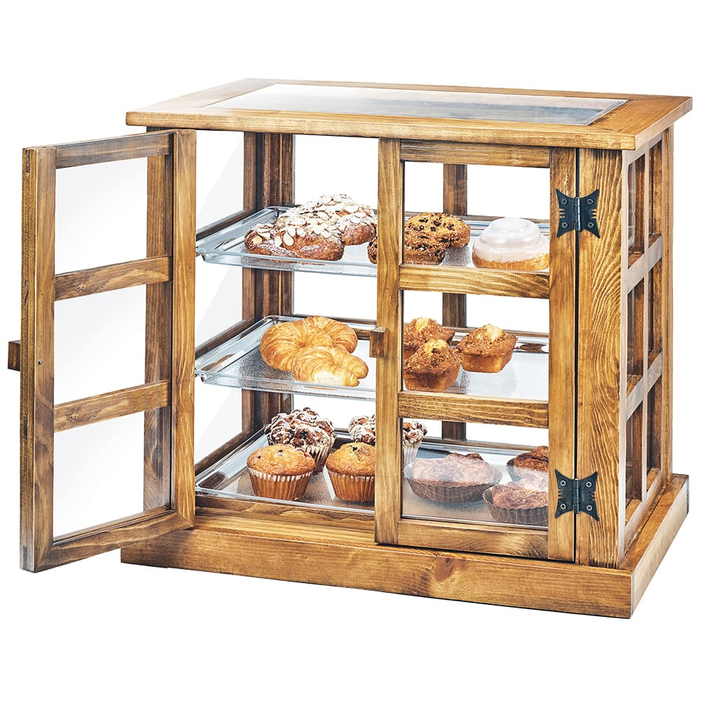 Cal-Mil 3621-99 3 Tier Pastry Display Case w/ Hinged Doors - Reclaimed Wood/Acrylic