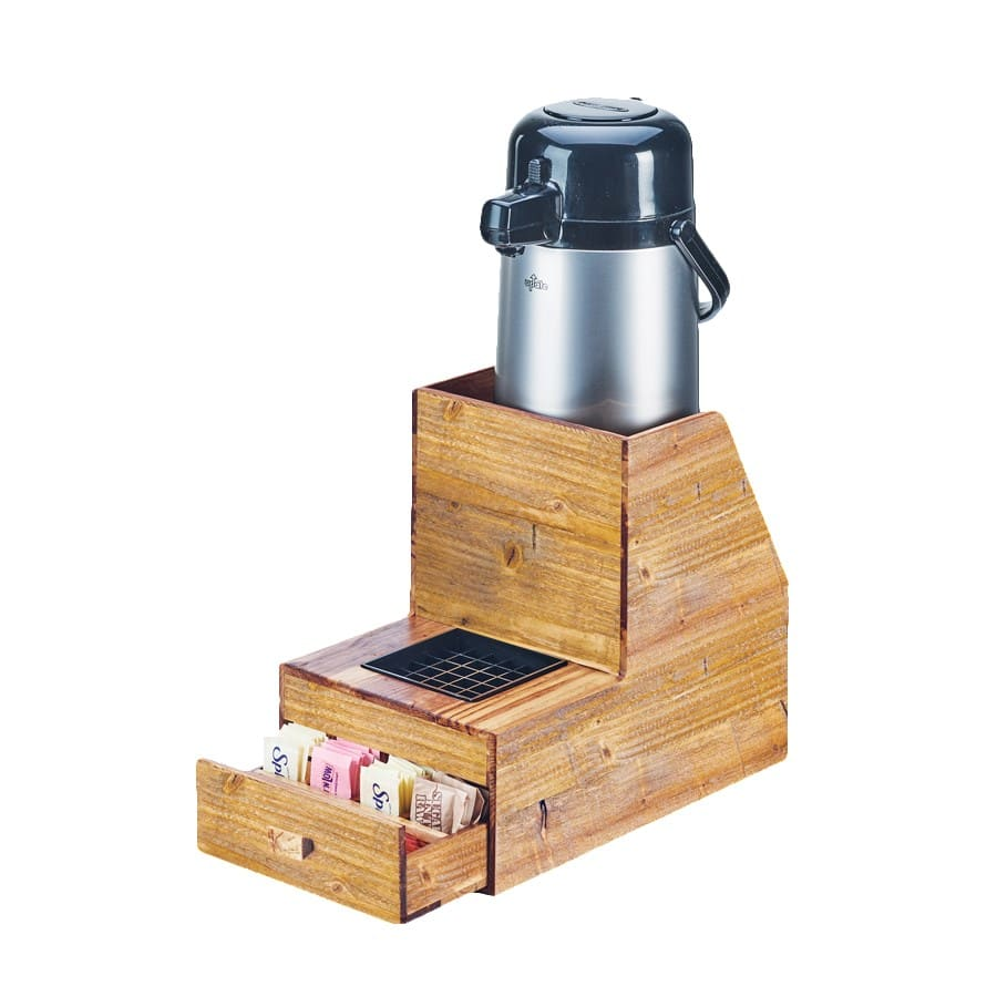 "Cal-Mil 3623-99 11.25"" Airpot Stand w/ Drip Tray & Drawer - Holds (1) Airpot, Wood"