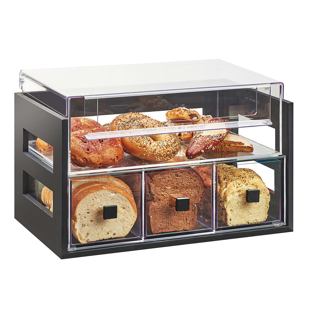 Cal-Mil 3624-96 4 Section Pastry Display Case - Midnight Bamboo/Acrylic