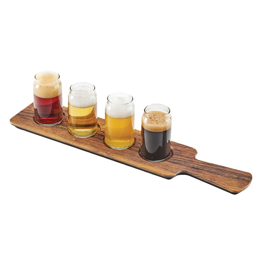 "Cal-Mil 3625-47M Beer Flight Board w/ (4) Cut-Outs - 18"" x 4"", Melamine, Hickory"