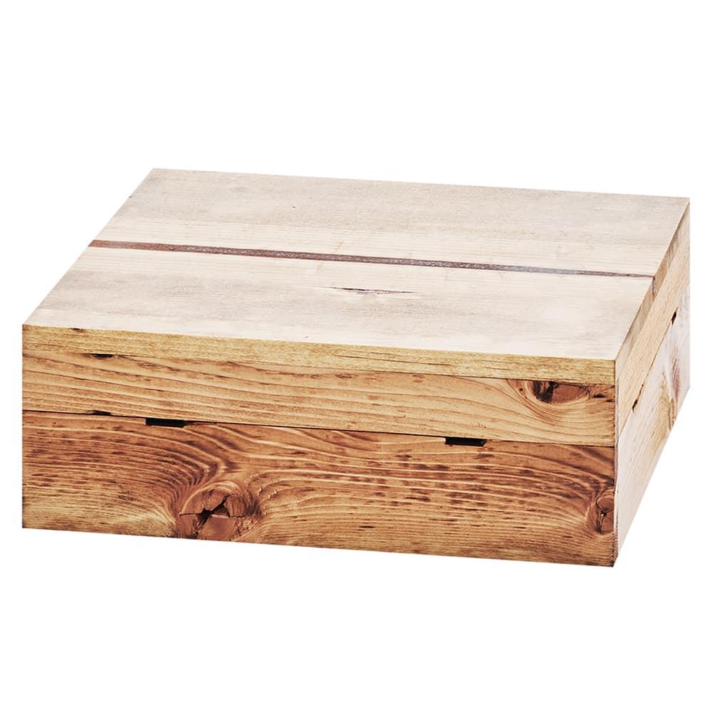 "Cal-Mil 3628-4-99 12"" Square Buffet Riser - 4""H, Reclaimed Wood"